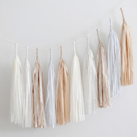 Neutral, champagne and bit of gold tassel garland - various lengths