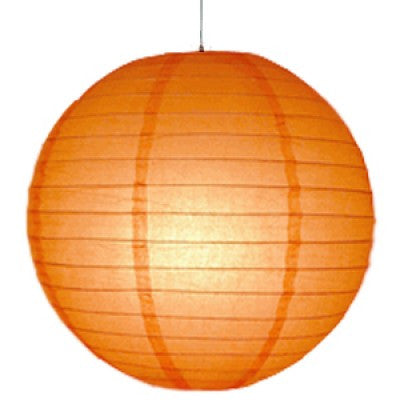 12 Inch Orange Round Lantern with LED light / no led light - Decopompoms - party decoration boutique