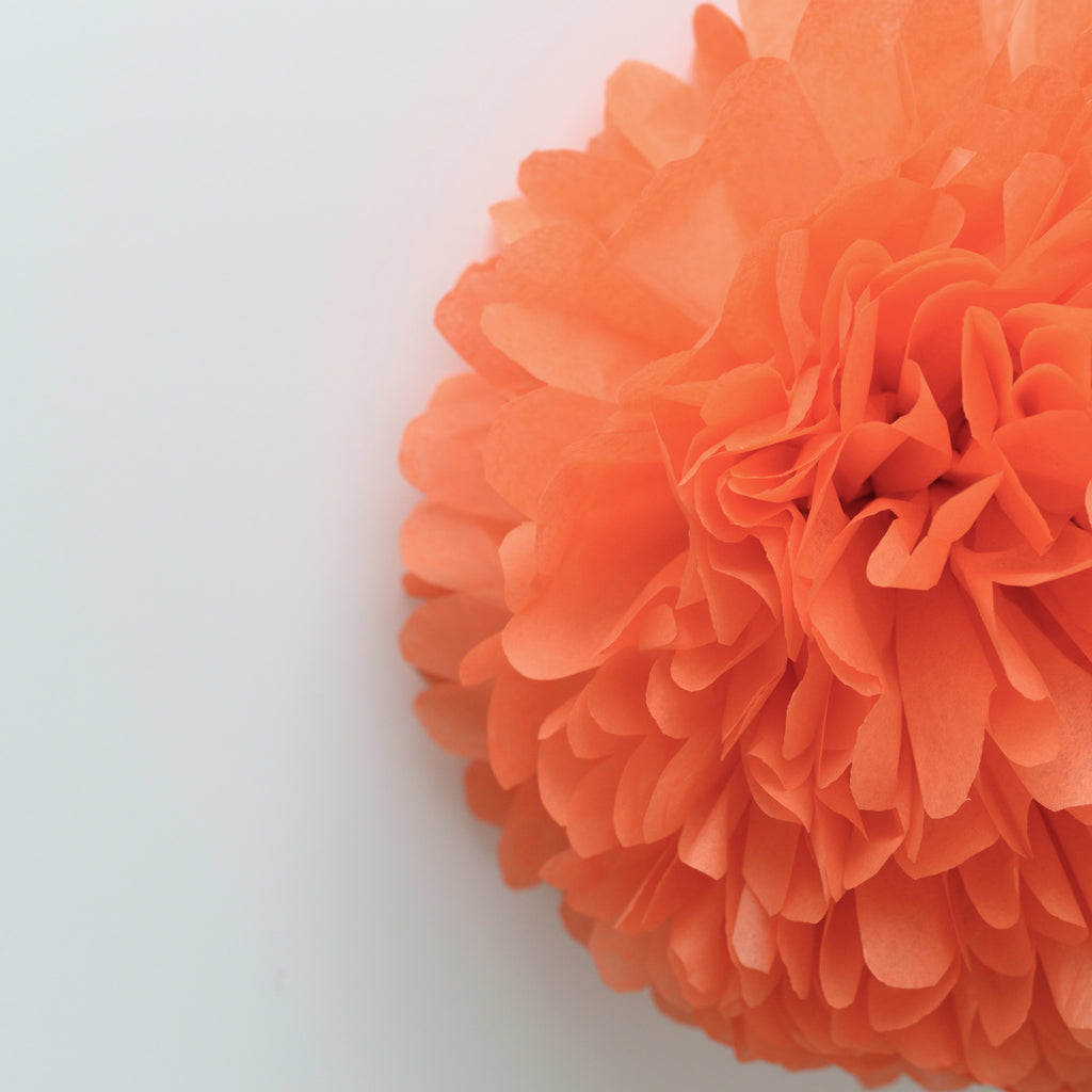 Large size orange tissue paper pom pom