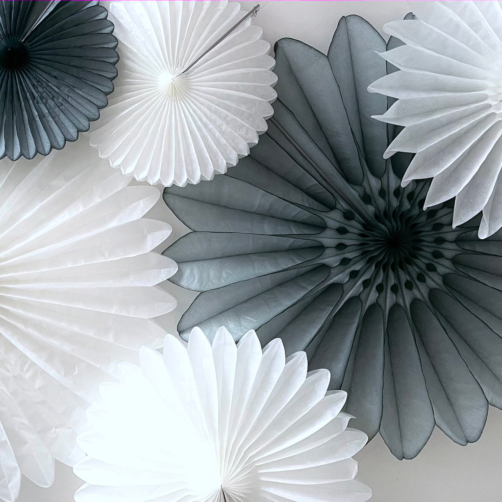 Paper fan party decoration set - grey and white