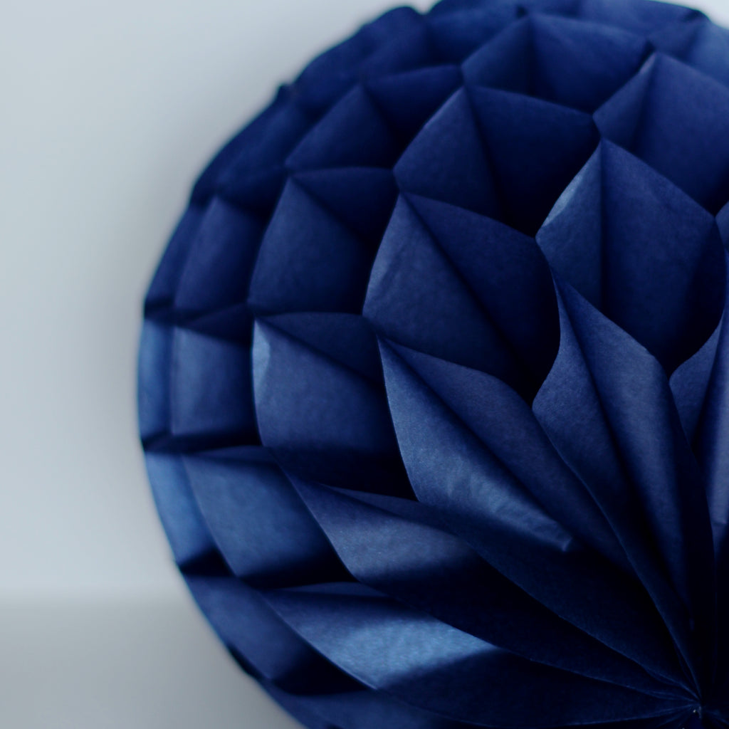 10cm DECOPOMPOMS NAVY BLUE tissue paper HONEYCOMB BALL