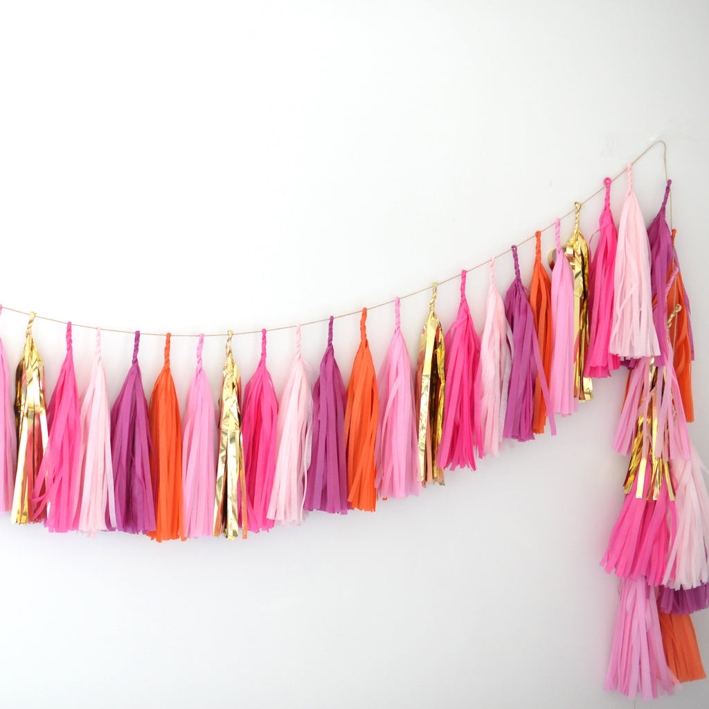 Pink, orange & gold tissue paper tassel garland - various lengths