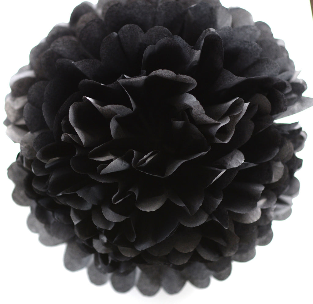 Black tissue paper pom pom - Decopompoms - party decoration boutique
