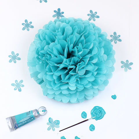 Carribean blue / Tifanny's blue tissue paper pom pom - Decopompoms - party decoration boutique