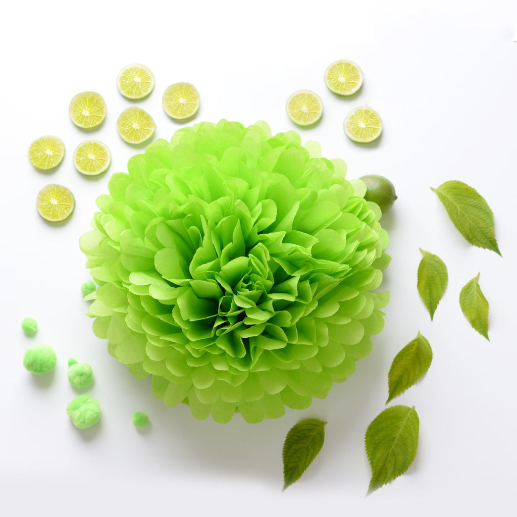 Citruss green tissue paper pom pom - Decopompoms - party decoration boutique