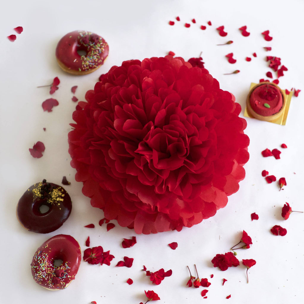 Deep red tissue paper pom pom - Decopompoms - party decoration boutique
