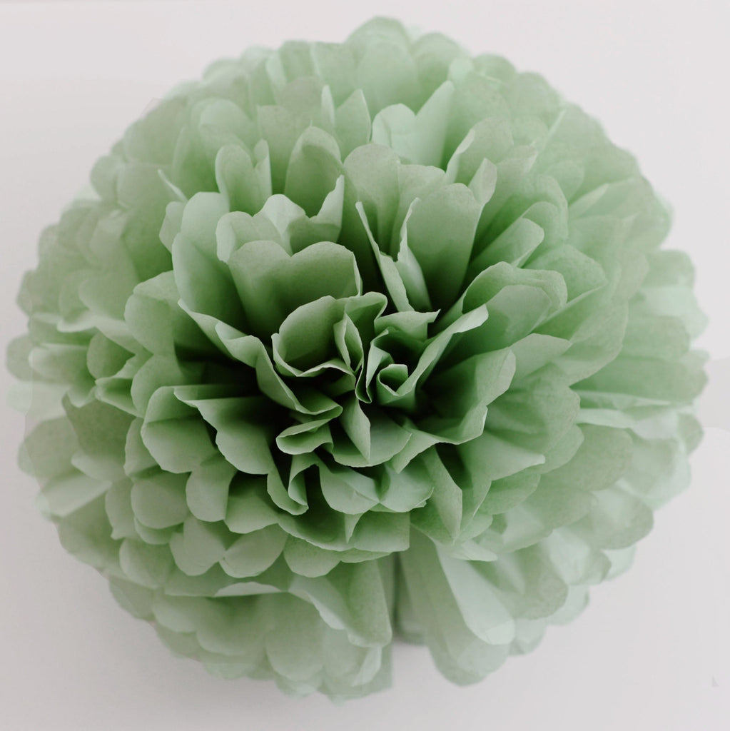 Dusty green / cedar green tissue paper pom pom - Decopompoms - party decoration boutique