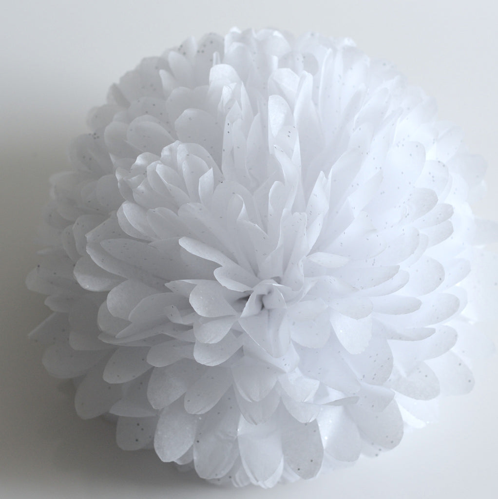Gemstone Diamonds White Tissue Paper Pom Pom Decopompoms Party