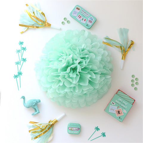 Mint tissue paper pom poms - Decopompoms - party decoration boutique