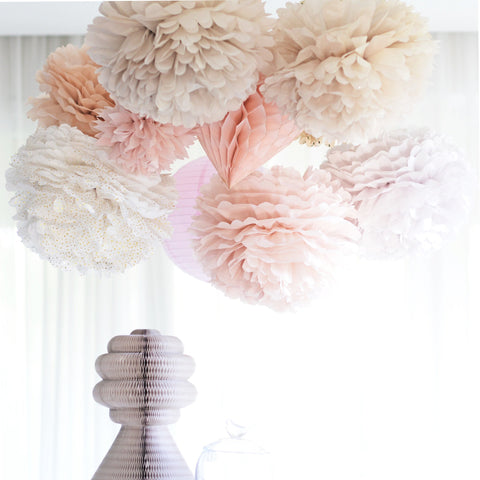 24 mixed size pom poms value set - custom colors - Decopompoms - party decoration boutique