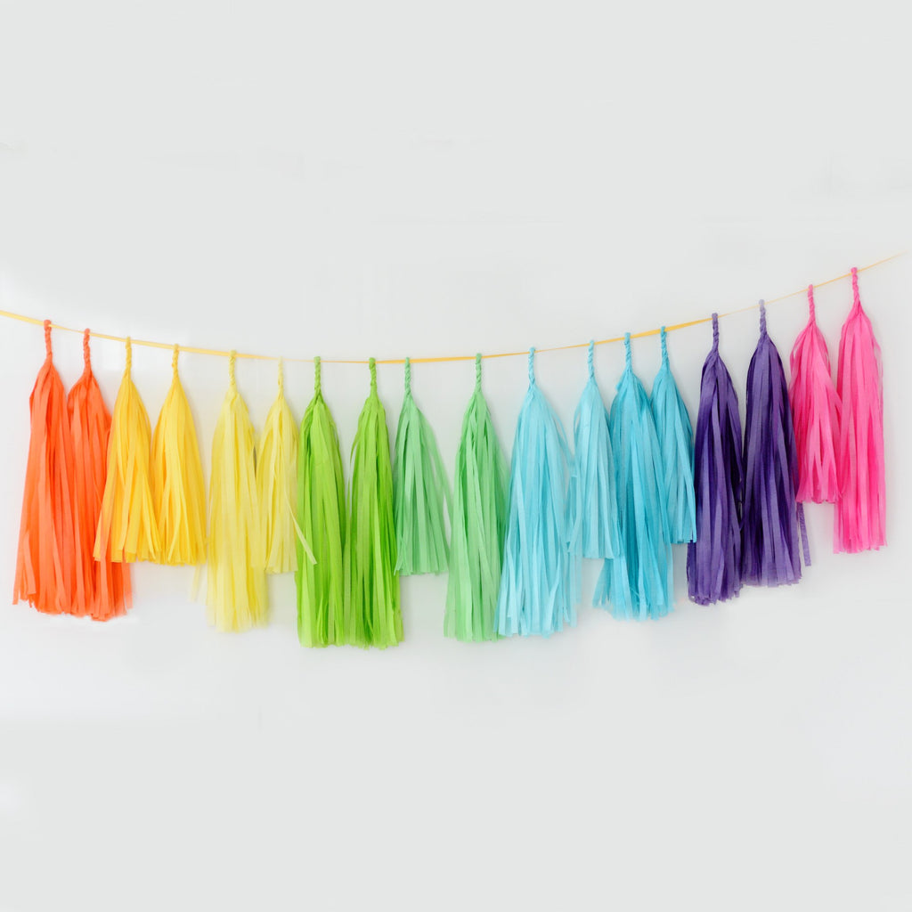 Bright rainbow tassel garland - various lengths