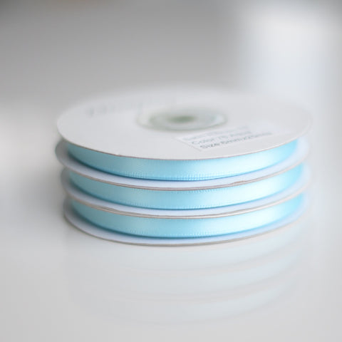 Aquamarine double sided satin ribbon roll - 25m - Decopompoms - party decoration boutique