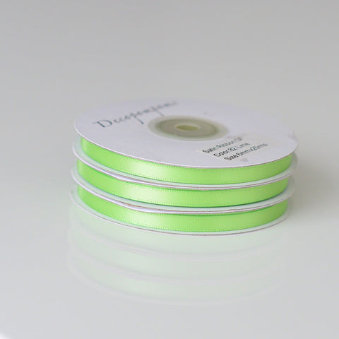 Citrus Green double sided satin ribbon roll 6mm/12mm/full roll 25m - Decopompoms - party decoration boutique