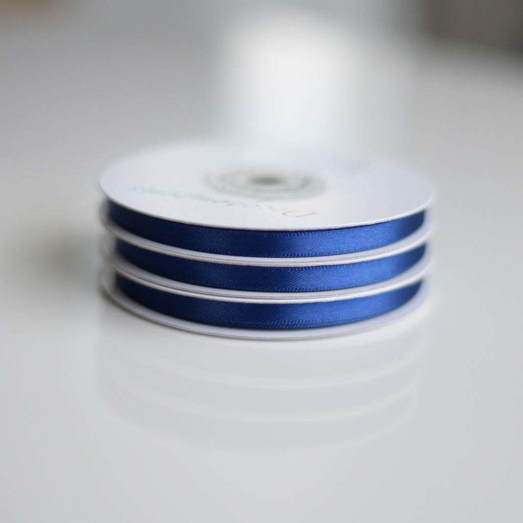 Ribbon - Navy Blue Double Sided Satin Ribbon Roll - 25m