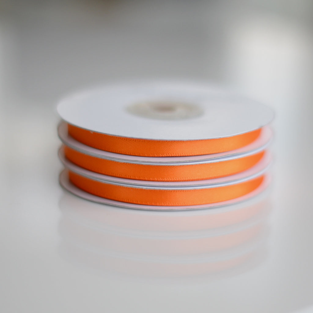 Ribbon - Orange Double Sided Satin Ribbon Roll - 25m