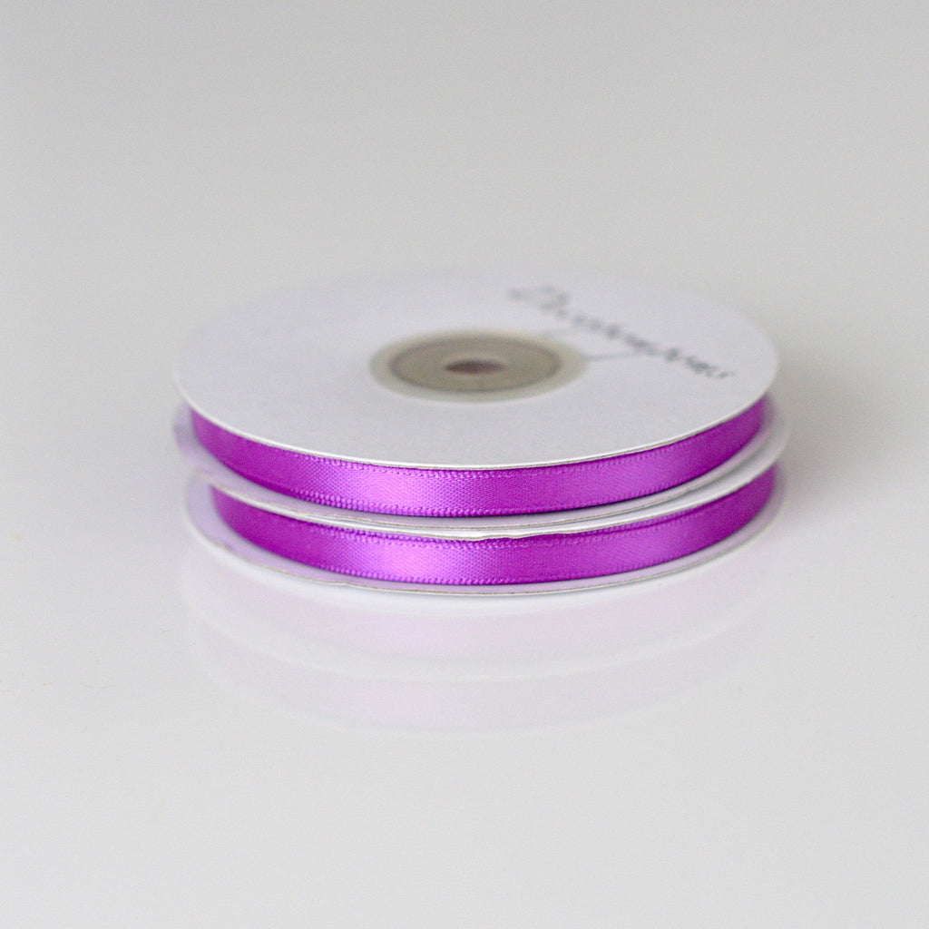 Ribbon - Plum Double Sided Satin Ribbon 6mm/12mm/full Roll - 25m