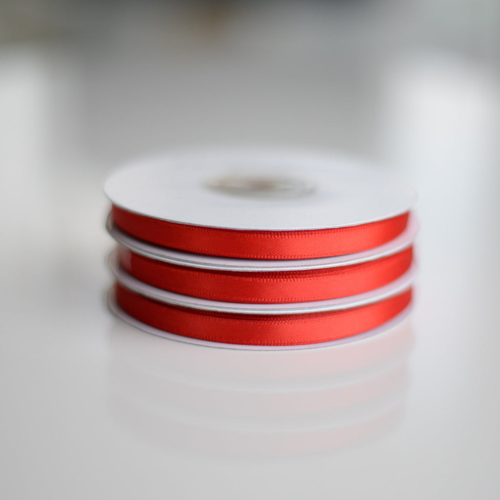 Ribbon - Red Double Sided Satin Ribbon Roll - 25m