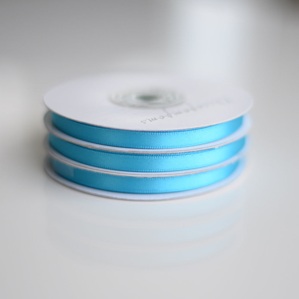 Ribbon - Turquoise Double Sided Satin Ribbon Roll - 25m
