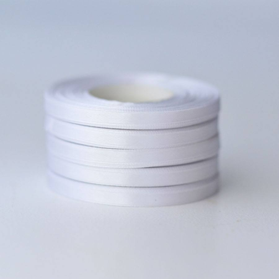 Ribbon - White Double Sided Satin Ribbon Roll - 25m