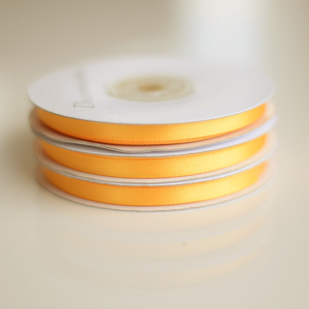 Ribbon - Yellow Double Sided Satin Ribbon Roll - 25m