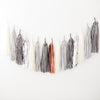 Silver, grey and bronze Tissue paper tassel garland