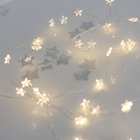 Copper wire star fairy string lights - micro drop led 2m - 40 leds