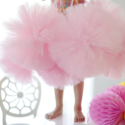 SALE - HUGE Baby pink  tulle pom poms - set of 4 extra large pompoms - bridal, baby shower, nursery decorations