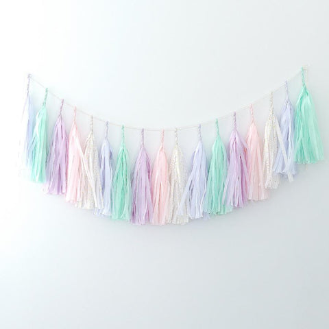 Minty pink and lilac tassel garland - various lengths