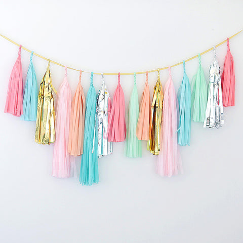 Coral, mint, silver, gold, pink tassel garland - various lengths