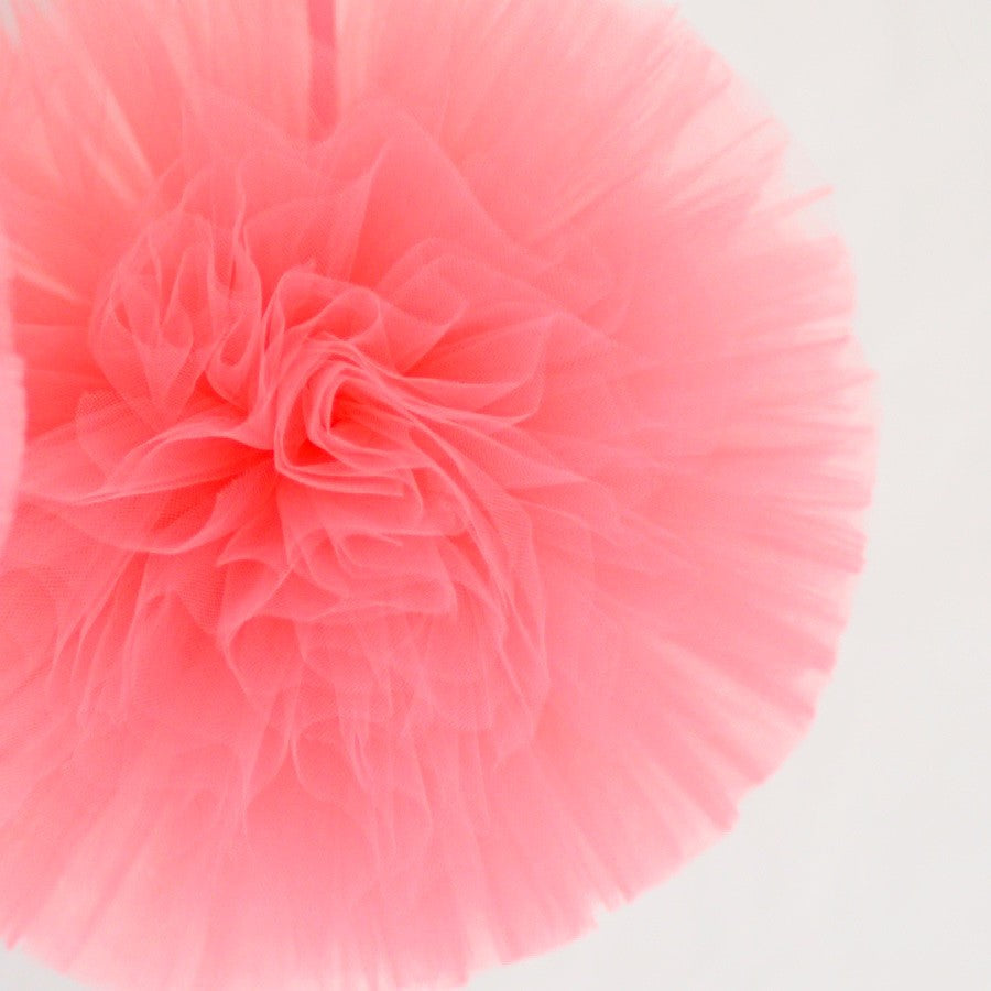 Tulle - Coral Tulle Pom Pom