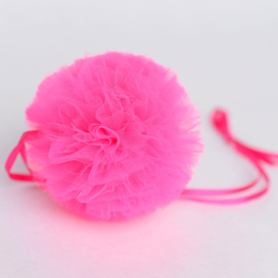 Hot pink tulle pom pom - Decopompoms - party decoration boutique