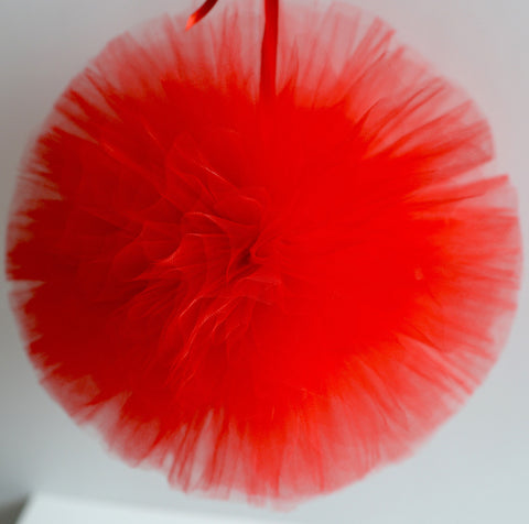 Tulle - Red Tulle Pom Pom