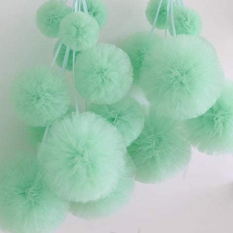 Tulle Value Set - 5 Mint Mixed Size Tulle Pompoms Set