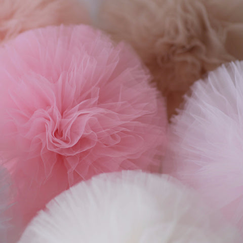 4 Mixed size tulle pompoms set - custom colors