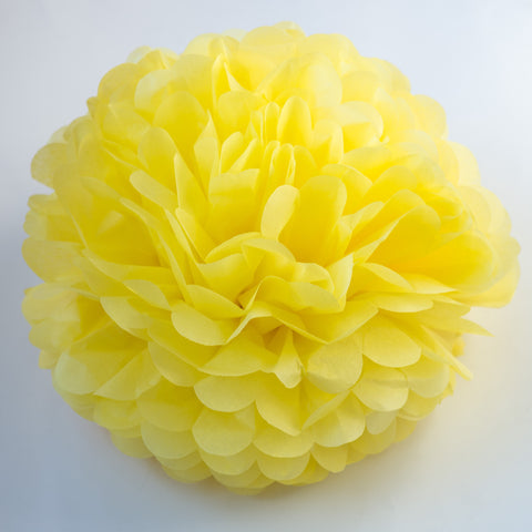Large size light yellow tissue paper pom pom