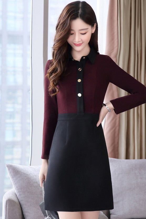 Maroon Black Dress