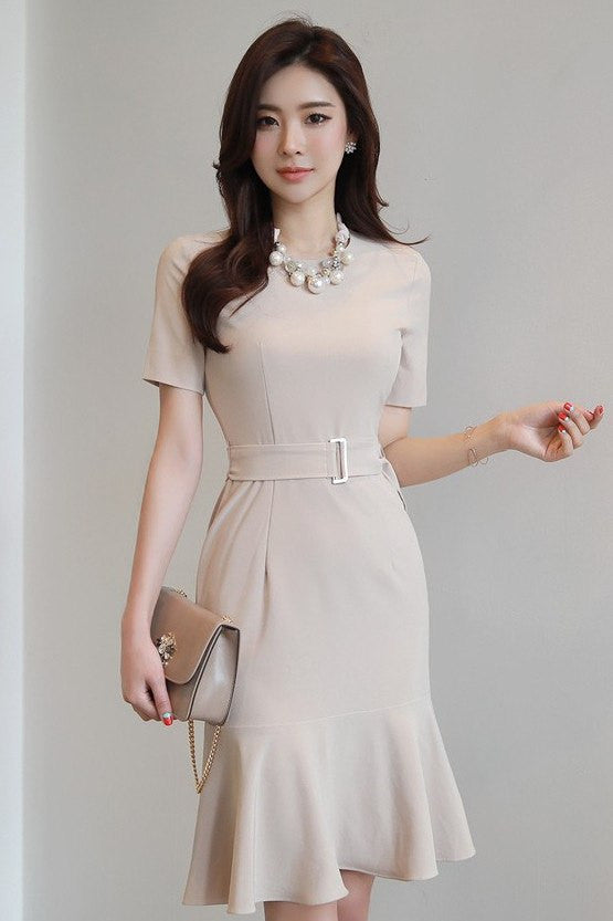 DRESS - Beige Belted Dress