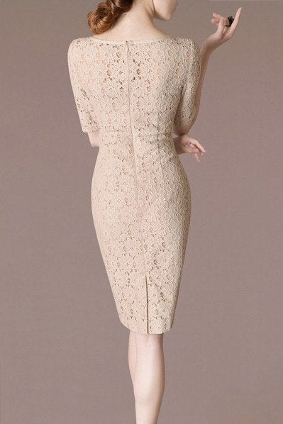 Dress - Beige Lace  Dress