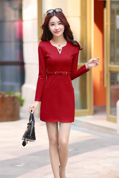 Dress - Belted Long Sleeve