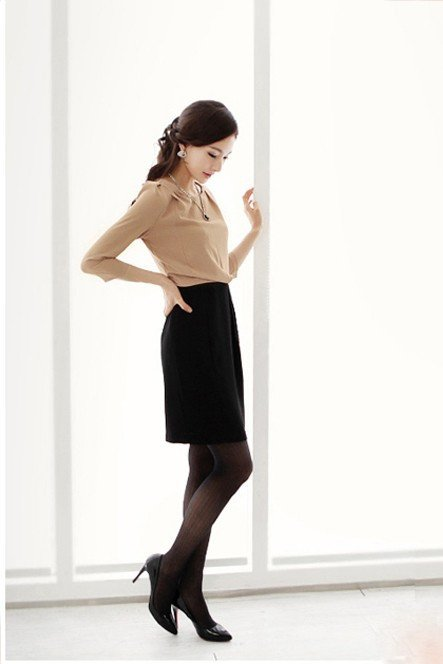 Dress - Black And Beige Office Dress