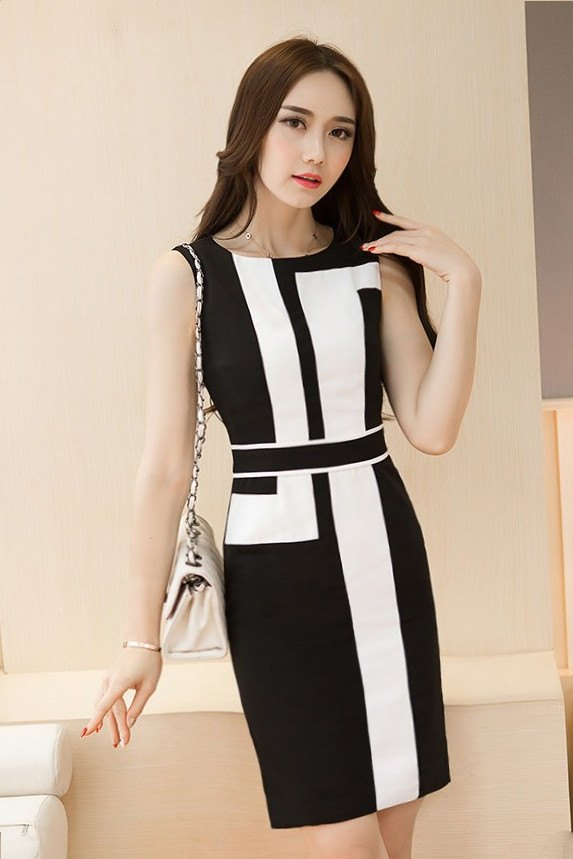 DRESS - Black And White Office Dress