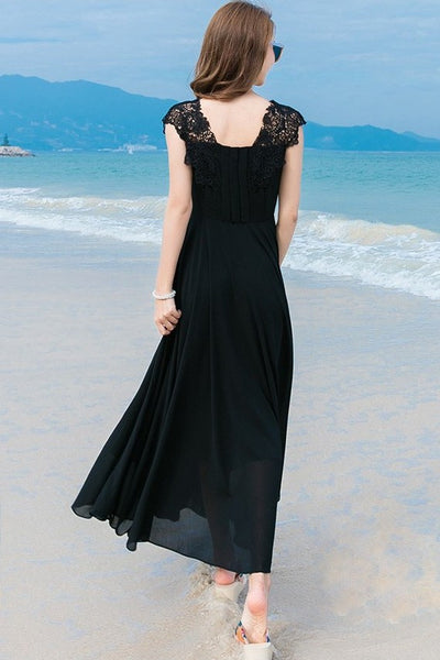 DRESS - Black Chiffon Maxi