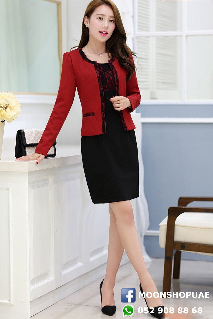 Black Dress Red Jacket - Moon Shop UAE