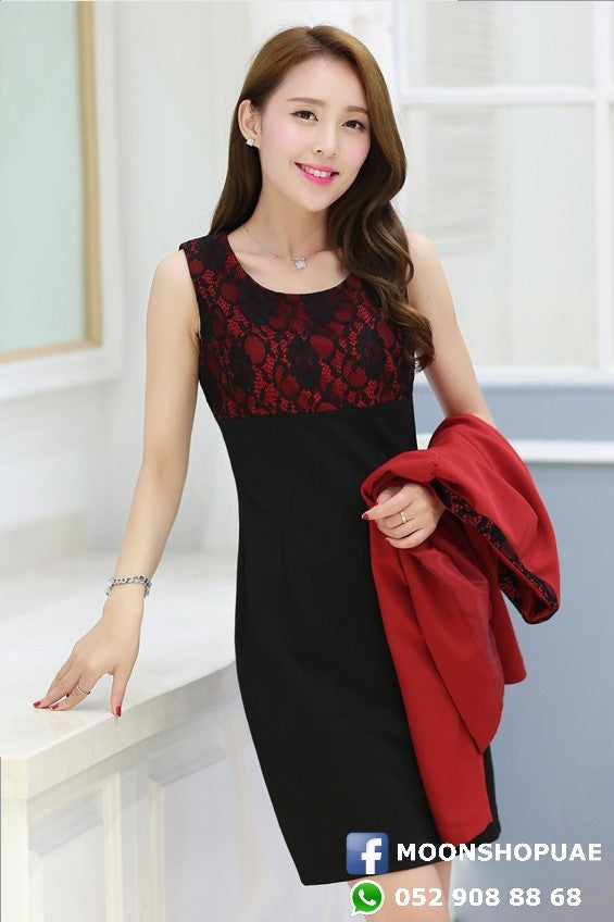Dress - Black Dress Red Jacket