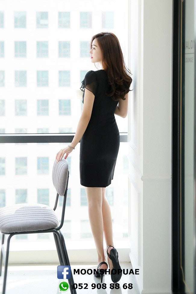 Black Front Crossed Dress