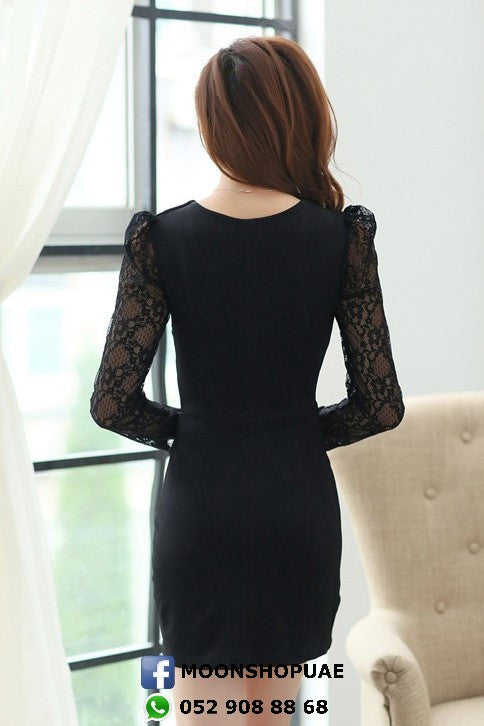 Dress - Black Lace Sleeves Dress