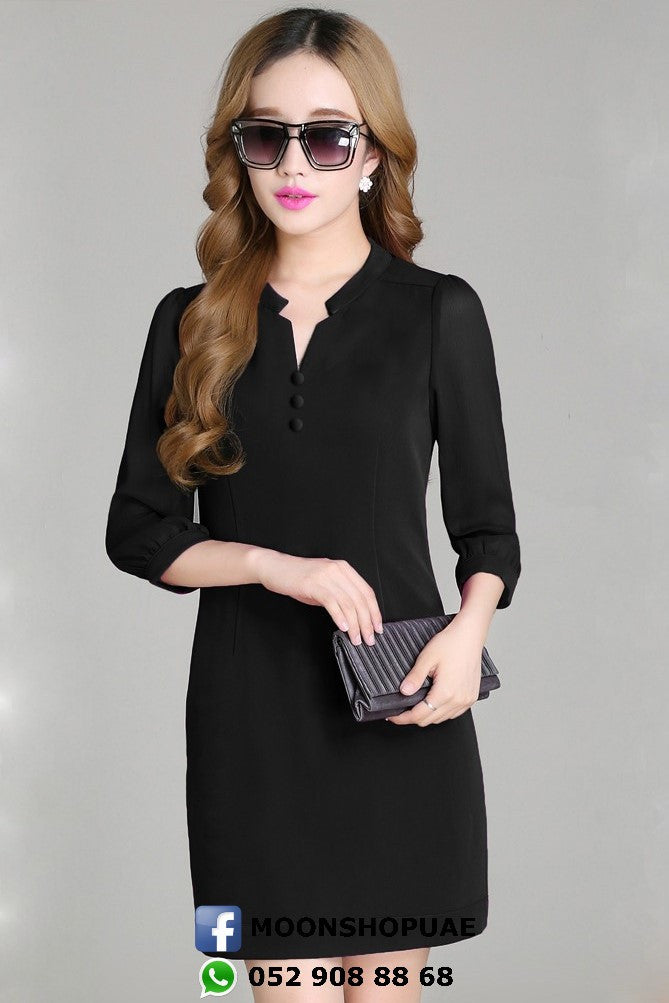 Dress - Black Medium Sleeve Dress