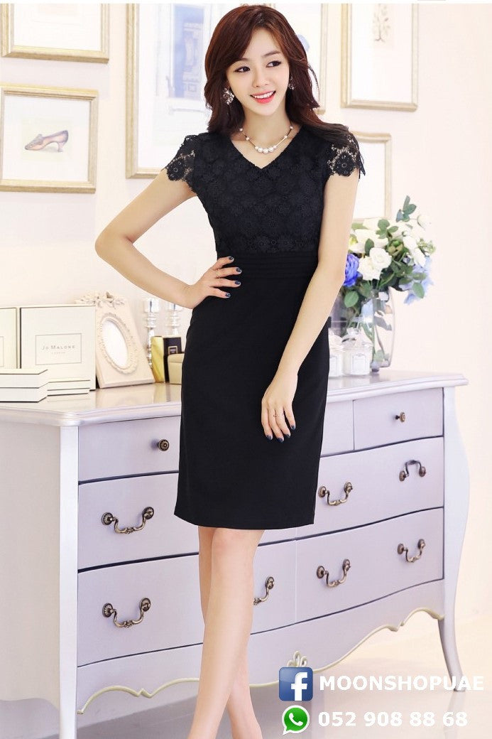 Dress - Black V Neck Lace