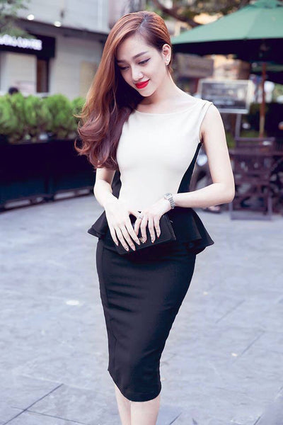 DRESS - Black White Flounce Dress