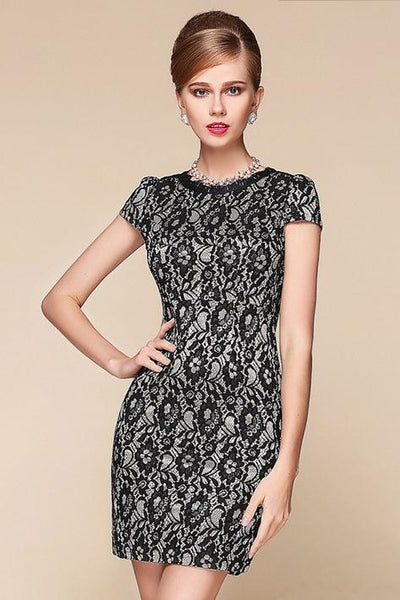 Dress - Flower Pattern Short Sleeve